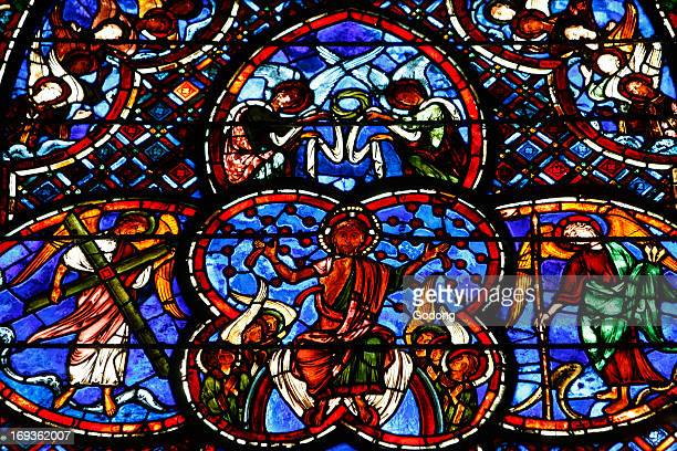 Stained glass in Bourges cathedral the Last Judgment