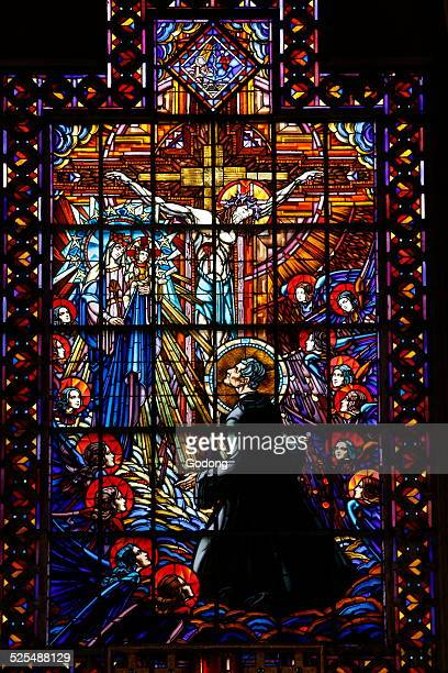 Stained glass in Saint John Bosco s church Paris Apotheose de saint Jean Bosco recu au ciel par Marie verriere par Antoine Bessac