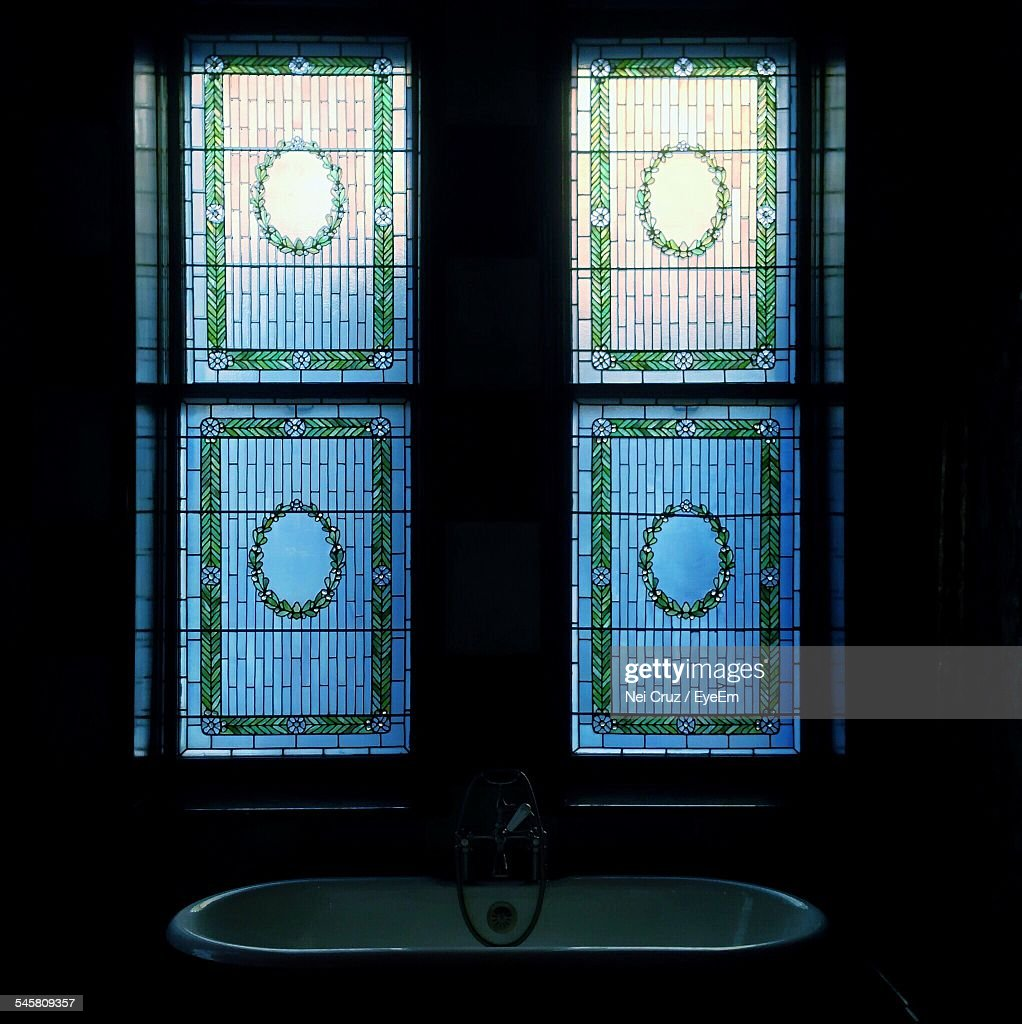 Window Above Bathroom Sink Part - 44: Stained Glass Window Above Bathroom Sink