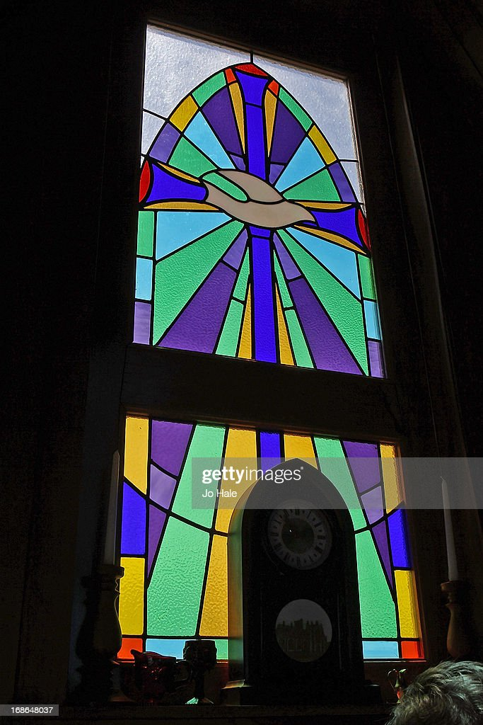 Stained Glass Window and interior of The Little Chapel at the NZ Kumara Capital Farm on January 8, 2013 in Aratapu in the Kaipara District in the Northlands of the North Island in New Zealand.