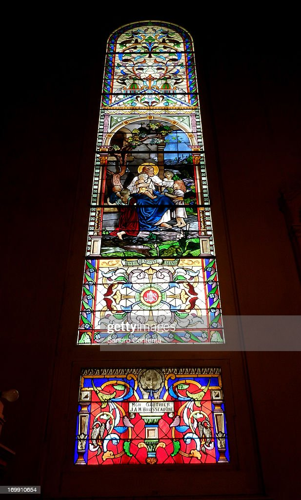 A stained glass window at the Saint-Jerome Cathedral, a Catholic church north of Montreal.