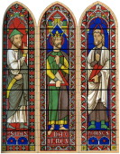 A stained glass window featuring Moses King David and Isaiah Bourges Cathedral Bourges France 13th century Bourges Cathedral is dedicated to Saint...