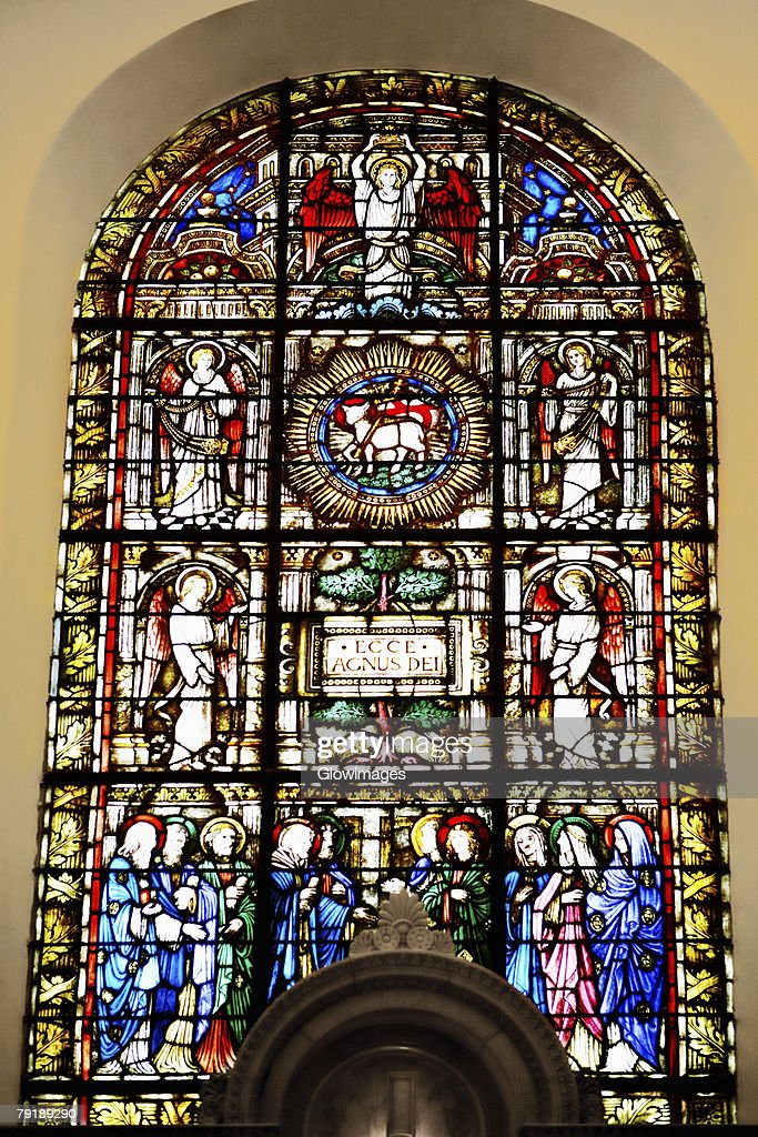Stained glass window in a church, St. Philips Church, Charleston, South Carolina, USA : Stock Photo
