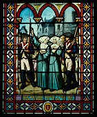 Stained glass window in Avrille in Vendee pointing the pacification of the Vendee during the French Revolution 'Sister MarieAnne recalls to Sister...