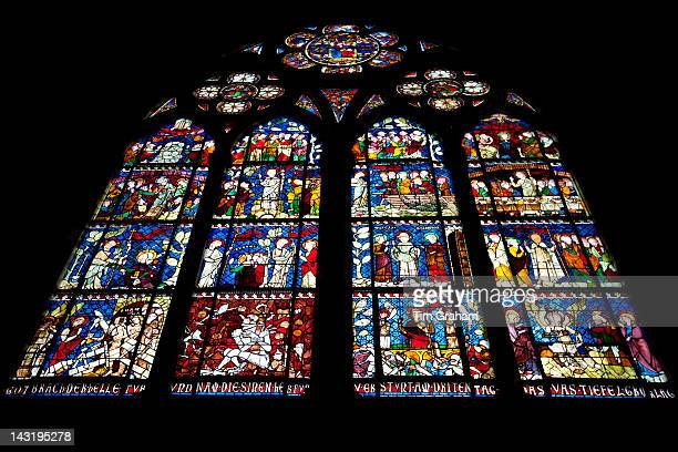 Stained glass window in The Cathedral of Notre Dame Our Lady at Strasbourg Alsace France