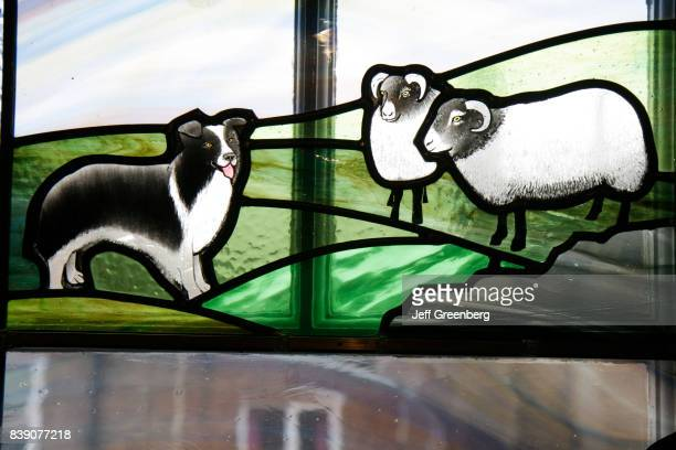 A stained glass window in the James Herriot Museum