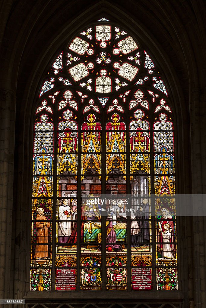 Stained glass window inside Brussels cathedral.