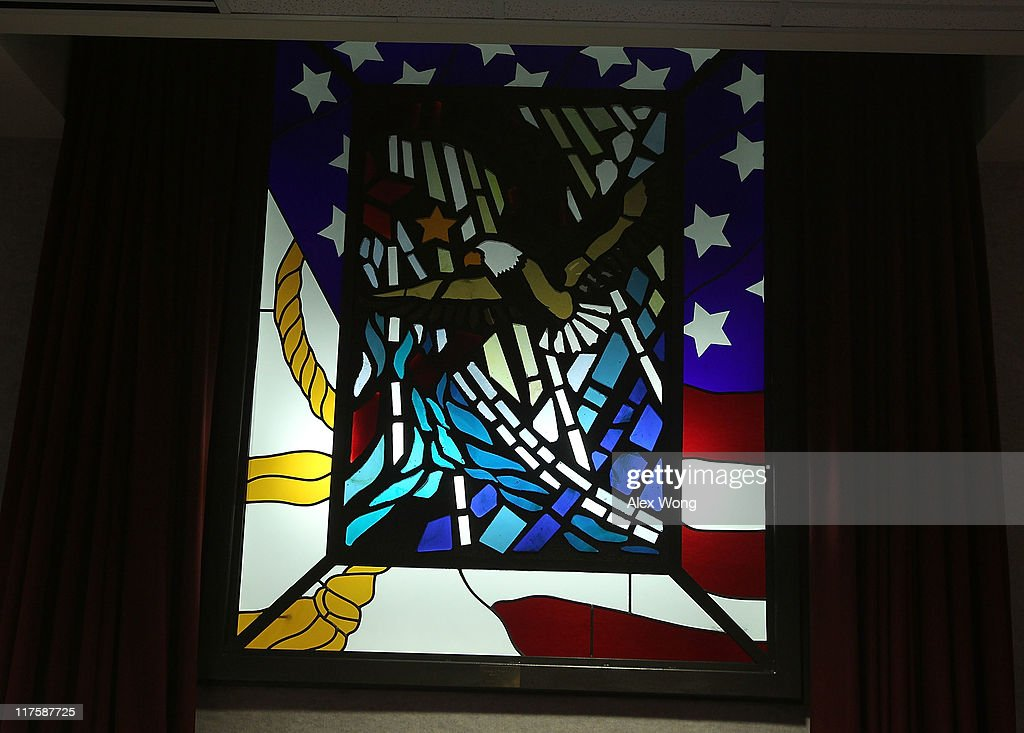 A stained glass window is seen at the Memorial Chapel of the Pentagon June 28, 2011 in Arlington, Virginia. This year is the 10th anniversary of the September 11 terrorist attacks, in which 184 people were killed at the Pentagon.