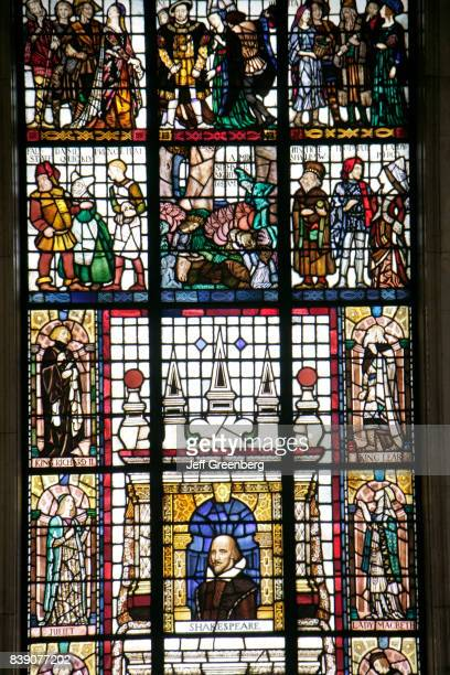 A stained glass window of Shakespeare plays in the Manchester Central Library