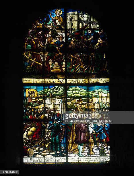 Stained glass window with episodes from the life of Saint Ubaldo Church of Saint Ubaldo Gubbio Umbria Italy