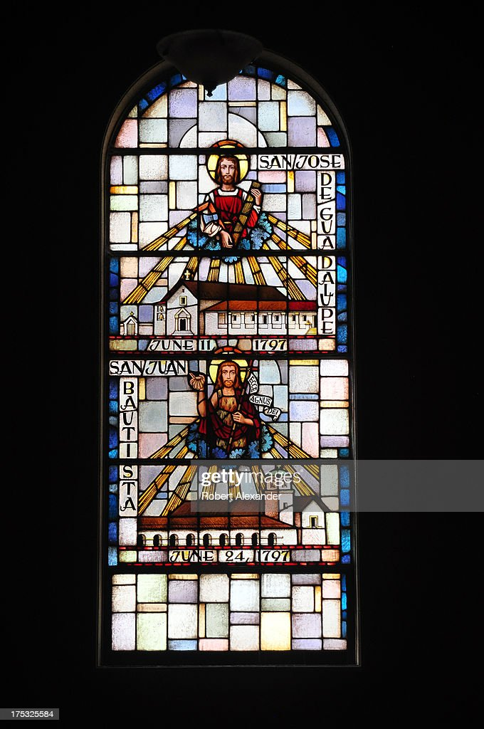 Stained glass windows at Mission San Francisco de Asis, or Mission Dolores, depict the 21 Spanish missions established by the Catholic church in the New World in the 18th century. Among those depicted are San Jose de Guadalupe and San Juan Bautista.