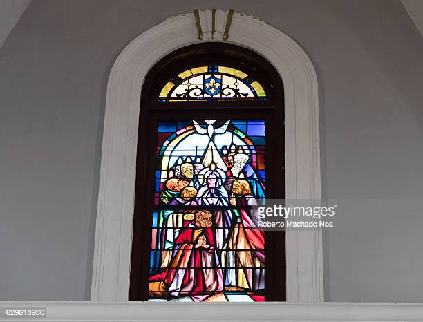 Stained glass windows at Our Lady of Charity of El Cobre catholic church The Marian Virgin is the patroness of Cuba and the landmark a major tourist...