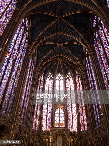 Stained Glass Windows inside St Chapelle, Paris, France : Stock Photo