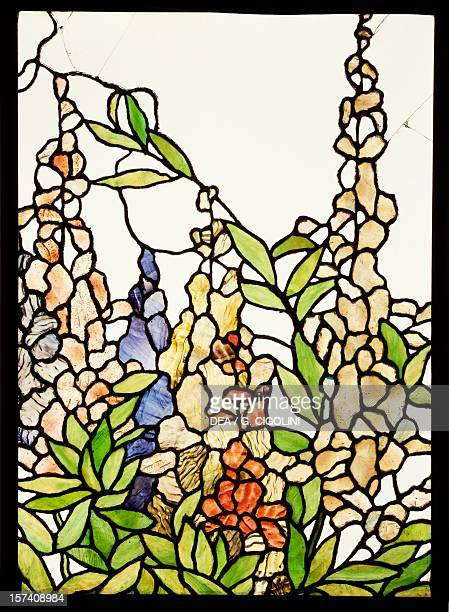 Stainedglass window decorated with floral motifs in Art Nouveau style by Giovanni Beltrami and Giuseppe Buffa Italy 20th century Milan Museo Poldi...