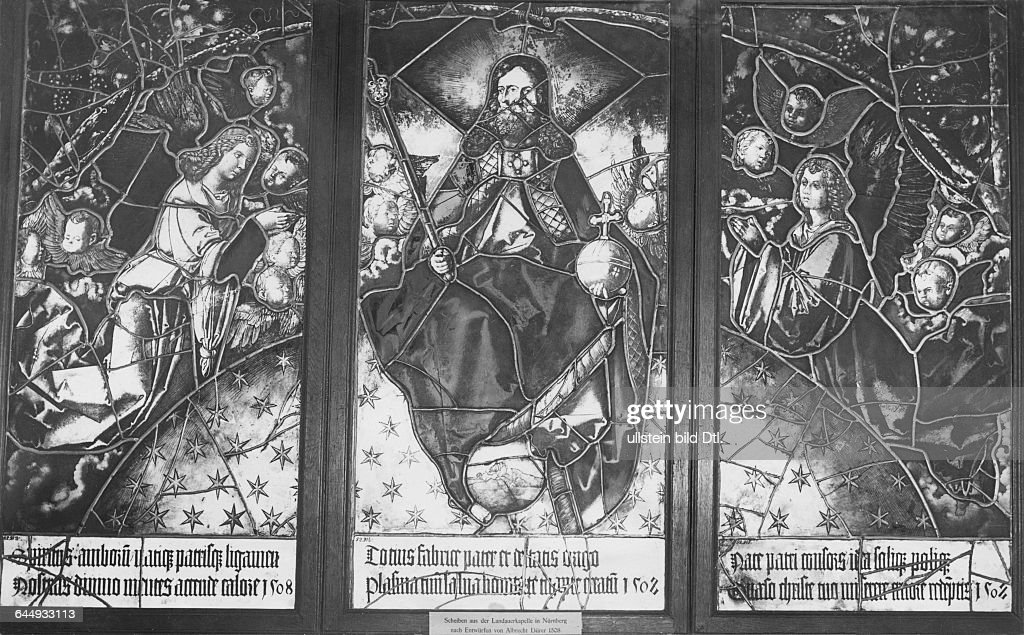 Stained-glass windows in the Berlin Castle Museum, the piece stems from the Nuremberg Landauer monastery and was made after a design by Albrecht Duerer
