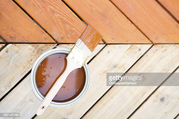 Staining hardwood patio deck
