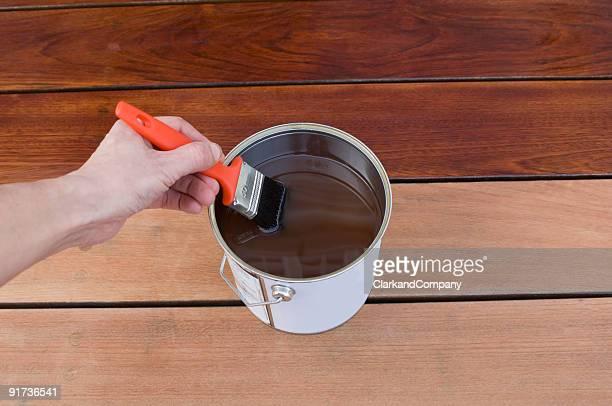 Staining Hardwood Timber Patio  Decking