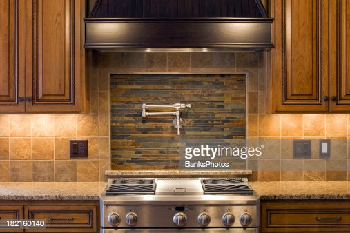 Stainless Residential Kitchen Range With Pot Faucet Tile Cabinets