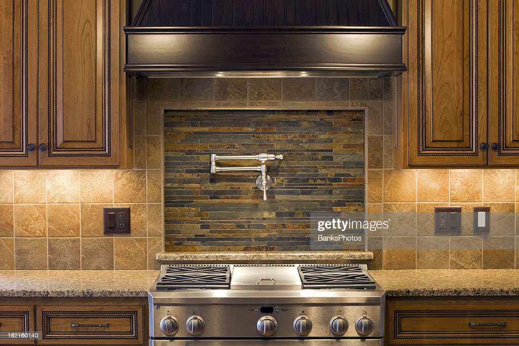 Stainless Residential Kitchen Range With Pot Faucet, Tile U0026 Cabinets :  Stock Photo