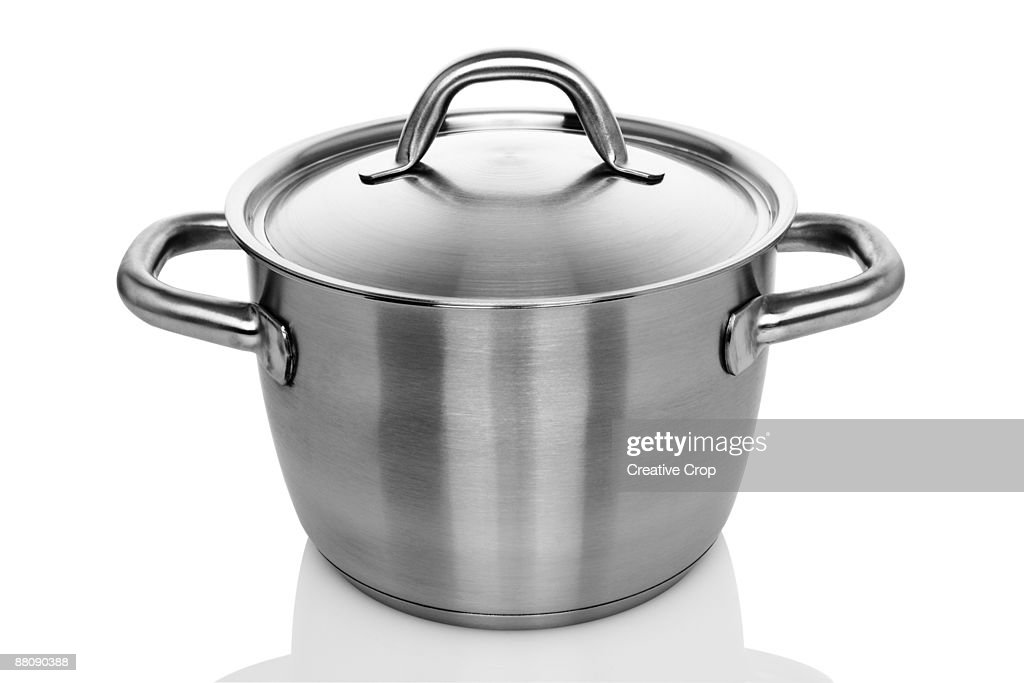 Stainless steel cooking pot : Stock Photo