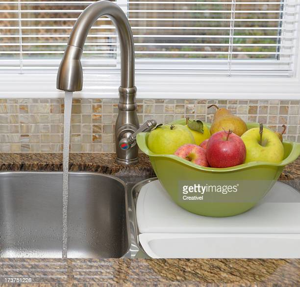 stainless steel double kitchen sink and faucet