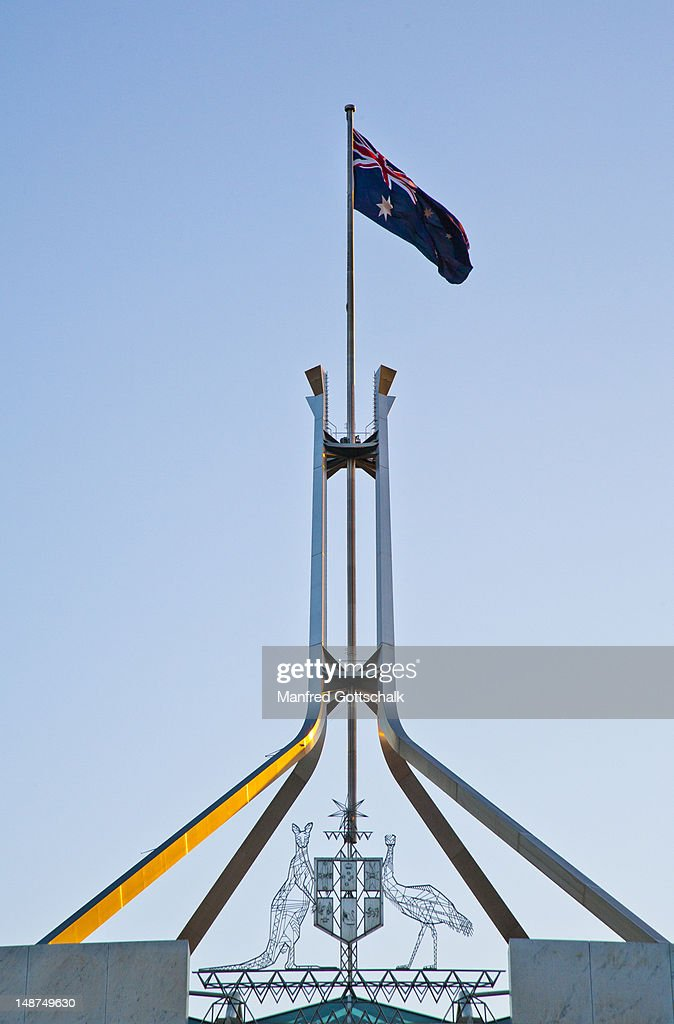 Stainless steel flagpole on Parliament House, Capital Hill.