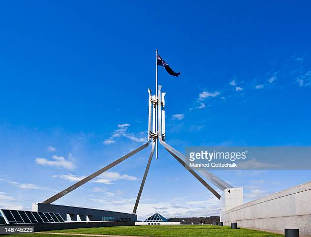 Stainless steel flagpole on Parliament House.