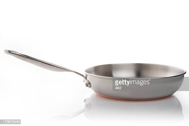 Stainless steel frying pan on white background