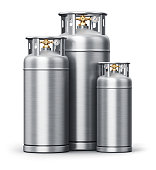 Creative abstract fuel industry manufacturing business concept: 3D render illustration of the group of different size metal stainless steel containers or cylinders for liquefied compressed natural oxy