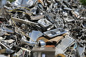 Pile of stainless steel scrap for recycling