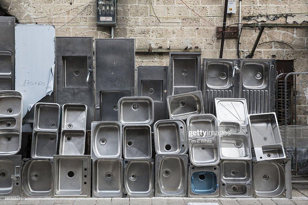 Stainless steel sink shop, Tel Aviv, Israel : Stock Photo