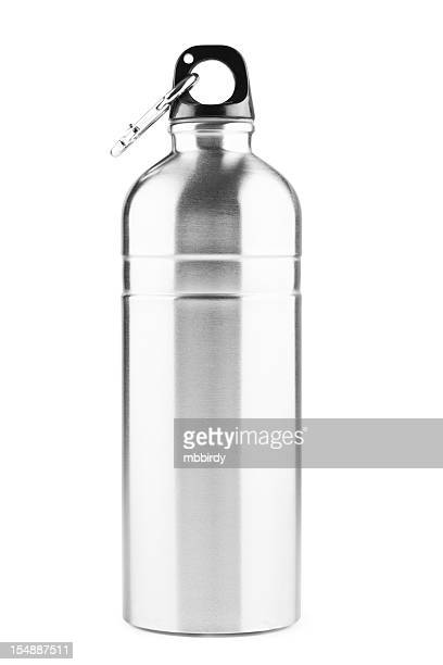 Stainless steel thermos bottle, isolated on white, clipping path