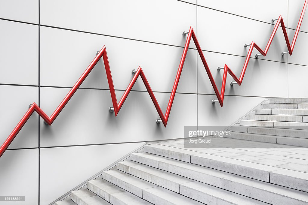Stair bannister shaped like a graph : Stock Photo