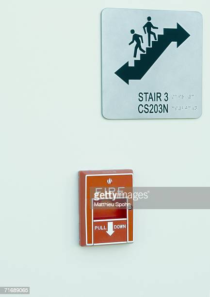 Stair sign and fire alarm