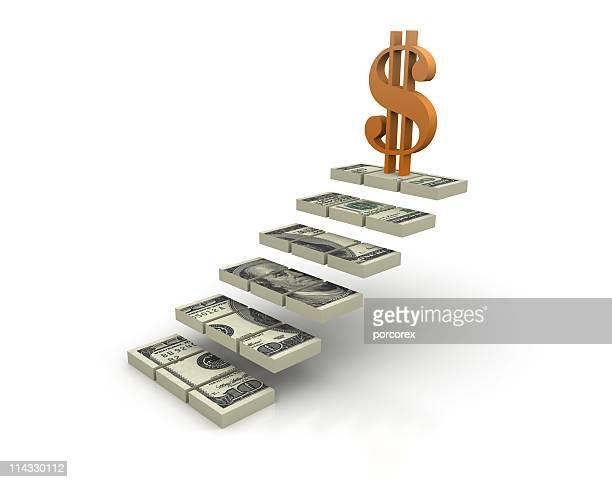 Escalier avec le Symbole du Dollar