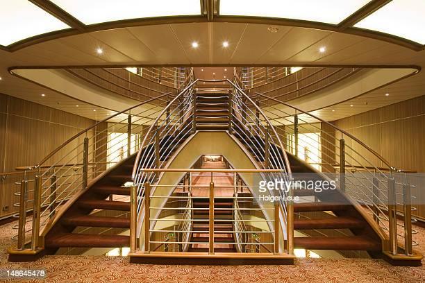 Staircase aboard cruiseship Silver Spirit (Silversea Cruises).