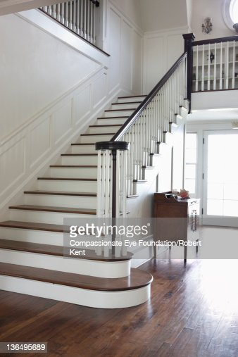 Staircase And Entrance Hall In Residential Home Stock