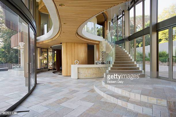 Staircase and entryway of modern home