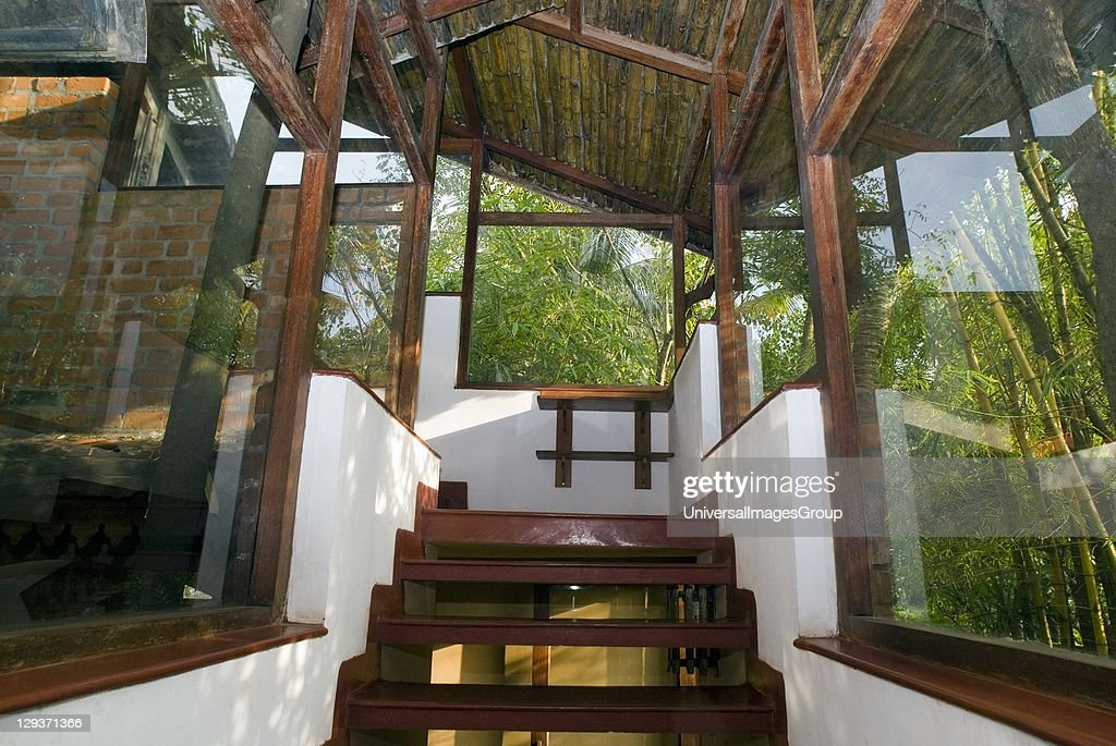 Staircase in bamboo brick glass constructed modern for Design of water harvesting pond