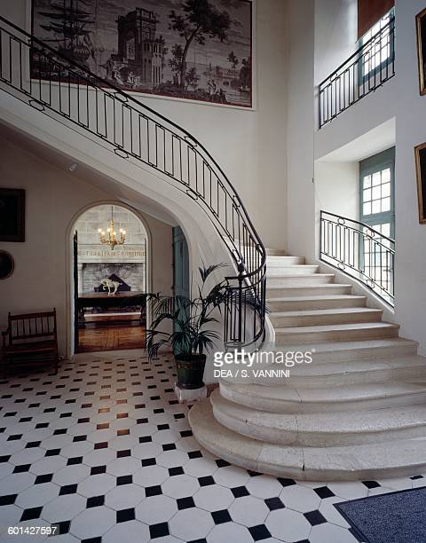 Staircase in the vestibule Chateau de la Roche Courbon SaintPorchaire PoitouCharentes France