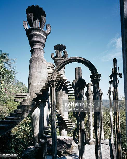 Staircase Leading Nowhere at Las Pozas Surrealist Sculpture Garden built of reinforced concrete in the 1960s and 1970s by Edward James in Xilitla...