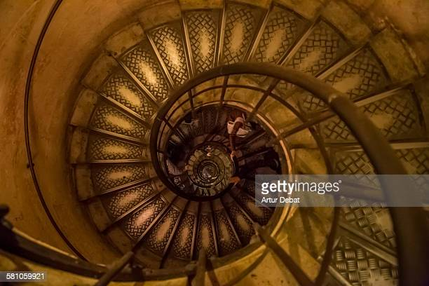 Staircase with spiral shape in the city of Paris.