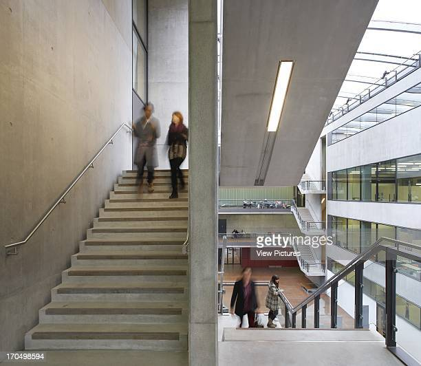 Staircase with students Central Saint Martins London United Kingdom Architect Stanton Williams 2011