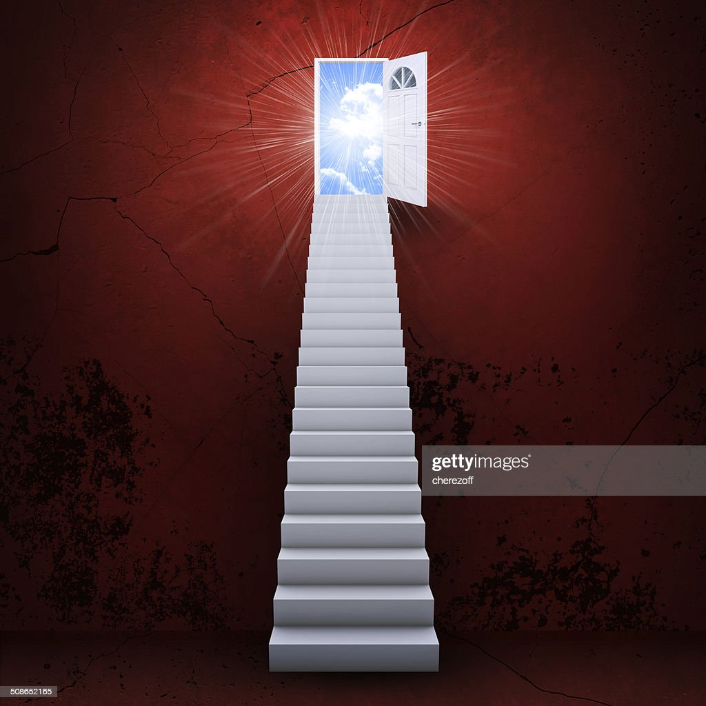 Stairs and magic doors : Stock Photo
