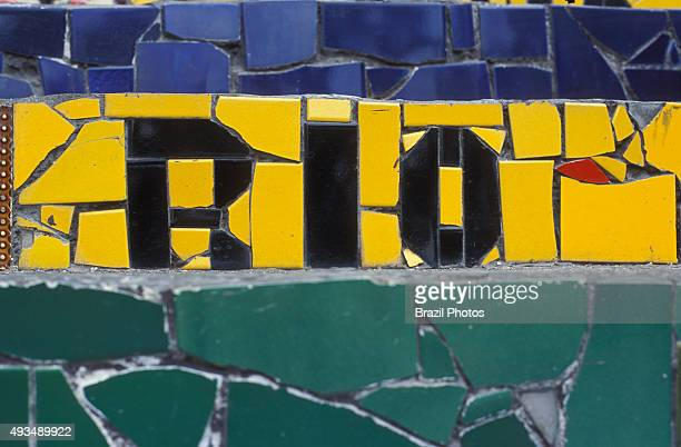 Stairs decorated with glazed tiles by artist Selarón in Santa Teresa / Lapa neighborhood Rio de Janeiro Brazil