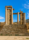Stairs in Djemila, the archaeological zone of the well preserved Berber-Roman ruins in North Africa, Algeria. UNESCO World Heritage Site