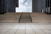 empty stairs at media harbour in duesseldorf, germany.