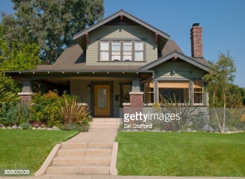 Stairs leading to craftsman house : Stock Photo