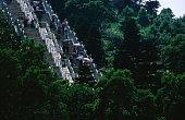 Stairs leding to the Muyushan Mountain top statue of Sakyamuni on Lantau Island.