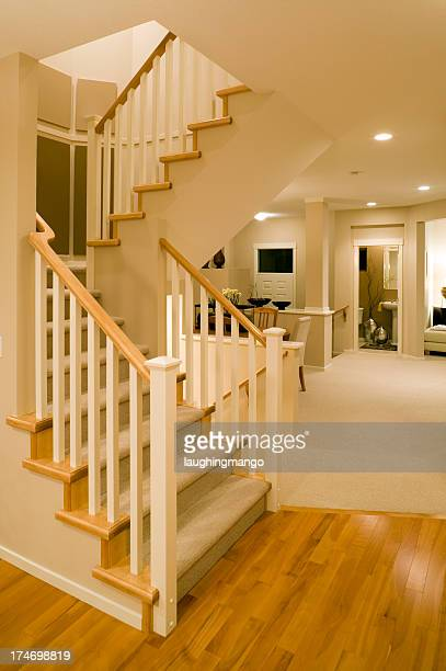 stairs modern new home hardwood floor entry basement renovate